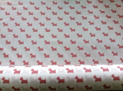 Scottie Dog Scottish Cotton Poplin Animal Print Fabric Material For Crafts - Pink