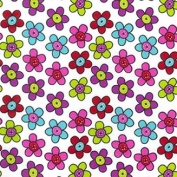 Hippy Flower Polycotton Print Fabric Material For Crafts Clothing Bags Floral - White