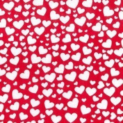 Heart Polycotton Print Fabric Material Love Textile For Crafts Art - Red With White Hearts