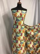 "Beautiful Soft Silky Crepe-de-chine Matt Satin Abstract Print Fabric 60"" 153cm Cloth Material Garment"