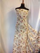 "Beautiful German Exclusive Silk & Cotton Floral Print Fabric 56"" 143cm Dress Sew"