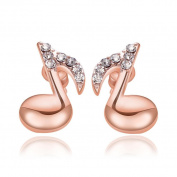 Sterling Silver Stud Earrings, KEERADS Fashion Women's 925 Sterling Crystal Musical Note Rhinestone Earrings
