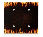 Burning Fire Double Blank Electrical Switch Plate