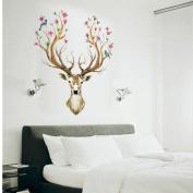 Wall Stickers,Geyou Removable 3D Plum flower deer Wall Sticker For Kids Home Living Room Decor Art Vinyl Mural Decal New