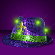 Mardi Gras Sequin Light Up LED Fedora Hat