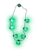 Light up St. Patricks Day Shamrock Necklace Flashing Green Bulb LED Glow Clover