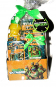Green and Extreme Teenage mutant Ninja Turtles Play Gift Set, Water bottle, jumbo chalk, Stickers, notebook, puzzle, Colour Pencils, in a Metal Gift Tin