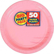 Amscan Big Party Pack 100 Count Paper Dessert Plates, 18cm , New Pink