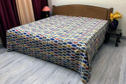DK Homewares Indian Kantha Quilt White Queen Size Bedding Hand Stitched Cotton Ikat Print Double Bed Bedspread