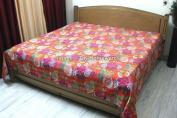 DK Homewares Indian Kantha Quilt Orange Queen Size Bedding Hand Stitched Cotton Tropicana Print Double Bed Bedspread