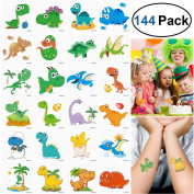 UNOMOR 144PCS 5.1cm x 5.1cm Dinosaur Temporary Tattoos for Dinosaur Party Supplies Party Favours and Kids Birthday Party --24 Patterns