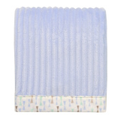 Baby Starters Ribbed Textured Plush Blanket with Patterned Border, Blue