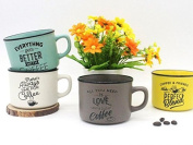 "Set 4 Cups ""Time for Coffee – Details and Memories For Weddings Original Coffee Cup Phrases"