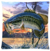 Adorable Pillow Cases Cushion Cover bass fish Pillowslip 46cm x 46cm Twin-sides Print