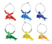 Puzzled Glass Dolphin Wine Charms