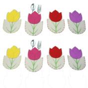 Malloom 8pc Easter Decoration Cutlery Trays Tulip Tableware Case Silverware H...