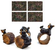 4 Pc. Pinecone Place Mat Set Bundled with Bears/Pine Tree 4 Pc. Napkin Rings