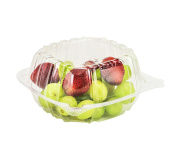 Dart Container 50 Piece Hinged Food Sandwich Take-Out Container Cupcake Cookie Favour Cake, Clear