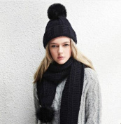 The wool hat scarf thick warm ball knitted scarf