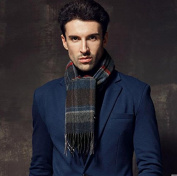 Men's Plaid business Europe and America thickening of pure wool scarf
