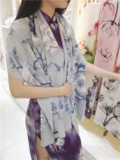 Chinese style silk scarf, blue and white porcelain, mulberry silk, long shawls