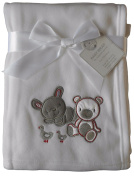 Baby Boys Girls Cute White Bunny and teddy Bear Wrap Blanket 100cm x 75cm approx