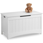VonHaus Colonial Toy Box - Classic White Storage Chest with easy-open operation - Children's Bedroom Furniture