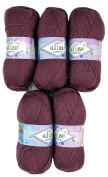 5 x 28 100g Knitting Wool Alize Bebe Berry 500 Gramme Wool Knit and Crochet