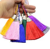 Makhry Mixed 22pcs Silky Handmade Straight (6.4cm ) Soft Fibre Tassels with 1.8cm Antique Silver Cap(Mixed 11 Colours)