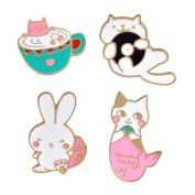 Funny Cats Brooch Pins Set, 4 Pcs Creative Posture for Clothes Bags Backpacks