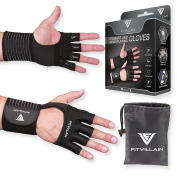 FITVILLAIN Stylish Workout Gloves - Breathable 2in1 Palm Protectors and Wrist Wraps all in one design - Best for Weightlifting, Fitness, Cross Training - Cute and Functional Grips for Men and Women
