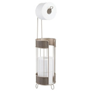 mDesign Toilet Paper Holder Stand with Toilet Tissue Storage with Woven Accents for Bathroom - Pearl Champagne