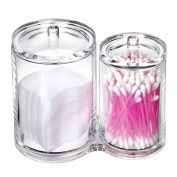 Hosaire Cotton Ball and Swab Holder 2 Compartment Acrylic Transparent Small Q-tips Toothpicks Cosmetics Storage Storage Container Box