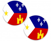 Acadian Flag Custom Car Coasters Cup Holder Matching Coaster Set