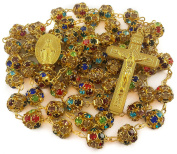 Colourful Zircon Beads Golden Rosary Catholic Necklace Miraculous Medal Cross