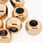YC 20pcs 15mmx10mm Gold Plated Smooth Round Acrylic Beads Big Hole