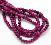 The Bead and Button Box - 200+ Glass Drawbench Beads. Fuchsia Pink, 4mm, Mottled marbled style, Ideal for jewellery making, crafts and projects, embellishment.