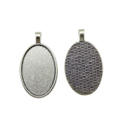 NEWME 12Pcs 20x30mm Oval Inner Size Antique Silver Plated Classic Perforation Single Side Side-On Cabochon Base Setting Charms Pendant