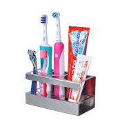 Heavy Duty Stainless Steel Bathroom Toothbrush Toothpast Holder - 5 Slots for Toothbrush & 1 Slot for Toothpast