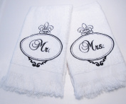 MR & MRS TOWEL SET (BLACK) EMBROIDERY ON WHITE TOWEL WEDDING GIFT