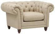 Stone & Beam Bradbury Chesterfield Tufted Accent Chair, 130cm W, Hemp