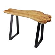 WELLAND Live Edge Cedar Wood Bench with Metal Legs 70cm Long