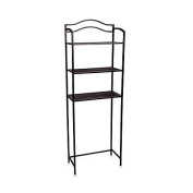 Household Essentials 3-Tier Bathroom Spacesaver in Chocolate Brown, no wall mount required