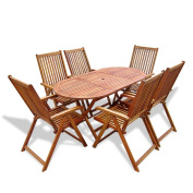 Festnight 7 Piece Wooden Outdoor Dining Set with 6 Adjustable Chairs, Natural wood