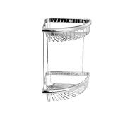 MAYKKE Dawn 23cm Wall Mount Double Corner Shower Basket Shelf | 2 Tier Wire Caddy for Shampoo, Conditioner, Soap, Razor Storage | Solid Brass Bathroom Holder & Organiser | Polished Chrome, XYA1070101