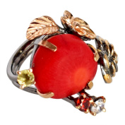 Trending Red Coral Gemstone 925 Sterling Silver Black Rhodium Rose Gold Plated Ring Sz 6 FSJ-740
