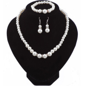 Wicemoon European and American Classic Diamond Pearl Necklace Earrings Set