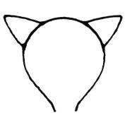Vivid Colour Headwear Cat Ears HeadBand Hair Band - Black