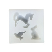 3 Holes Animal Horse+Rabbit+Pigeon Beading Casting Mould DIY Handmade Silicone Mould Clear Mould For Resin Crystal Lovely Gift