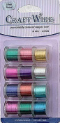 Pack of 12 - 0.51mm x 4.6m Mixed Colour Craft Wire - 24 gauge